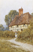 Country Cottage Framed Prints - Going Shopping Framed Print by Helen Allingham