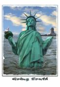 Statue Of Liberty Digital Art Posters - Going South Poster by Mike McGlothlen