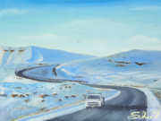 Snowscape Paintings - Going to Bonanza on a Snowy Day by Sherril Porter