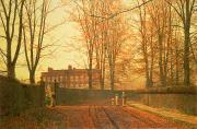 Autumn Light Prints - Going to Church Print by John Atkinson Grimshaw