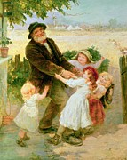Innocence Child Metal Prints - Going to the Fair Metal Print by Frederick Morgan