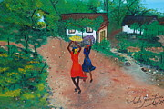 Haitian Paintings - Going To The Marketplace 1 by Nicole Jean-Louis