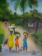 Picturesque Painting Prints - Going To The Marketplace 2 Print by Nicole Jean-Louis