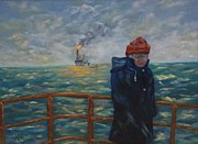 Sea Platform Painting Posters - Going to Work Poster by Douglas Ann Slusher
