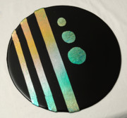 Dichroic Art Glass Glass Art Originals - Gold And Aqua Midnight by Sandy Feder
