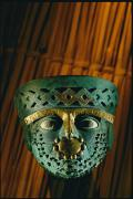 Moche Pre Columbian Artifacts Posters - Gold-and-copper Burial Mask Poster by Kenneth Garrett