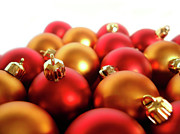New Year Prints - Gold and Red Xmas Balls Print by Carlos Caetano