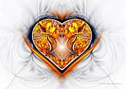 Burning Love Prints - Gold and Sapphire Heart  Print by Sandra Bauser Digital Art