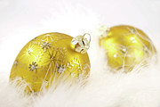 Gold Balls With Feathers Print by Sandra Cunningham