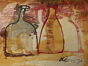 Painter Mixed Media - Gold bottles by Leo  De Jong