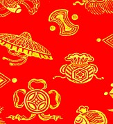 Kimonos Photos - Gold Brocade on Red Print 1825 by Padre Art