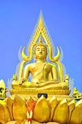 Buddhist Sculpture Posters - Gold buddha statue Poster by Somchai Suppalertporn