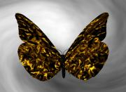 Contemporay Framed Prints - Gold Butterfly Framed Print by Louis Ferreira