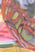 Plant Greeting Cards Painting Prints - Gold Butterfly Paintng Abstract Print by Don  Wright