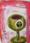 Wine Drawings - Gold Chalice by Mary Carol Williams