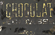 Urban Calligraphy Prints - Gold Chocolate Sign Print by Anahi DeCanio