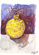 Christmas Notecard Originals - Gold Christmas Ornament by Michele Hollister - for Nancy Asbell