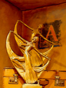 Brown Locks Framed Prints - Gold Dancing Girls Framed Print by Linda Phelps
