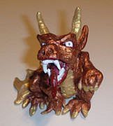 Figurine Sculpture Framed Prints - Gold Dragon Gargoyle Framed Print by Demian Legg