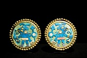 Florescent Framed Prints - Gold Ear Ornaments, Moche Florescent Framed Print by Tony Camacho