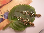 Handcrafted Art - Gold Earrings by Beth Sebring