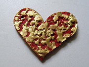 Paint Jewelry - Gold Embossed Heart Pendant by Megan Brandl