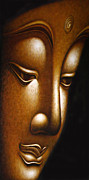 Tibet Prints - Gold Face of Buddha Print by Karon Melillo DeVega