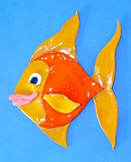 Fish Ceramics Metal Prints - Gold Fish Metal Print by Kimberly Castor