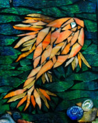 Stained Glass Art - Gold Fish by Sheri Thrift Roberson