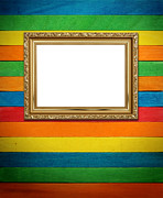 Edge Drawings Posters - Gold frame on colorful wood Background Poster by Natthawut Punyosaeng