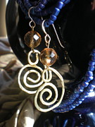 Gold Jewelry - Gold Glass Brass Earrings by Beth Sebring