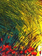 Pallet Knife Prints - Gold Grass Print by Shilpi Singh