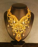 Shadow Jewelry - Gold Guipure Lace Collar Necklace by Janine Antulov