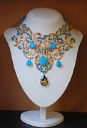 Shadow Jewelry - Gold Guipure Lace with Golden Shadow and Aqua Bead Necklace  by Janine Antulov