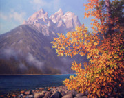 National Park Paintings - Gold In The Tetons by John Cogan