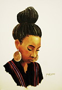 Gold Earrings Painting Framed Prints - Gold Framed Print by Jun Jamosmos