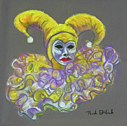 Mardi Gras Pastels Prints - Gold Lady Jester Print by Trish Bilich