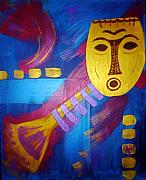 Sheila J Hall - Gold Mask on Blue