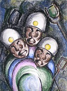Workers Pastels - Gold Mine Workers by Bernadine  Roos