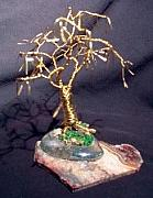 Sal Villano Art - GOLD OAK WITH LEAVES wire tree sculpture by Sal Villano