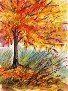 Autumn Landscape Drawings - Gold On a Blue Day by John  Williams