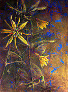 Passionflower Painting Prints - Gold Passions Print by Ashley Kujan