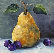 Purple Grapes Prints - Gold Pear with Grapes II  Print by Torrie Smiley