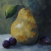 Fruit Still Life Framed Prints - Gold Pear with Grapes  Framed Print by Torrie Smiley