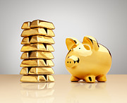 Ingot Prints - Gold Piggy Bank Beside A Stack Of Ingots Print by Anthony Bradshaw