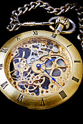 Hands Metal Prints - Gold Pocket Watch Metal Print by Garry Gay