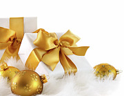 Ribbon Posters - Gold ribboned gifts with christmas balls  Poster by Sandra Cunningham