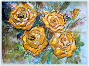 Flower Design Drawings - Gold Roses by Mindy Newman