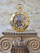 Pedestal Framed Prints - Gold skeleton pocket watch Framed Print by Garry Gay