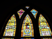 Church Glass Art Metal Prints - Gold Stained Glass Window Metal Print by Thomas Woolworth